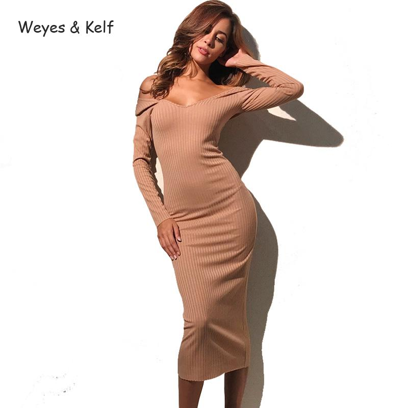 Weyes Kelf Spring Solid V neck Sexy Dress Women 2018 Autumn knitted Mid calf Off Shoulder