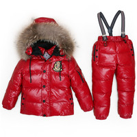 30 degree Russia Winter children's clothing girls clothes sets for new year's Eve boys parka jackets coat down snow wearT12