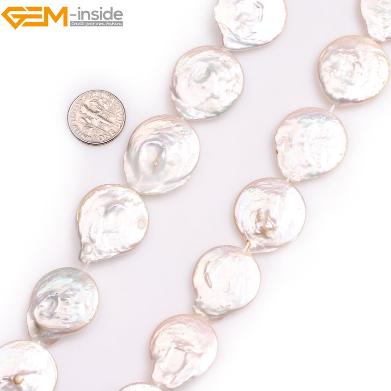 Gem-inside Natural Big Large White Pink Coin Freshwater Cultured luster Pearls Beads for Jewelry Making 15'' DIY Jewelry faux gem coin leaf jewelry set