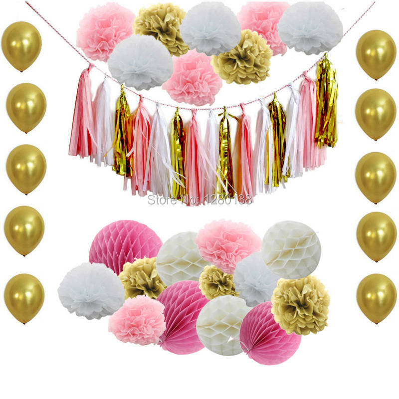 Popular ball gold buy cheap ball gold lots from china ball - Pink and white decorations ...