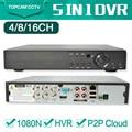 4Ch 8Ch 16Ch DVR CCTV NVR XVR 1080N 1080 P 3MP 5MP híbrido DVR Segurança Gravador Onvif PTZ RS485 Controle Coxial P2P Móvel vista