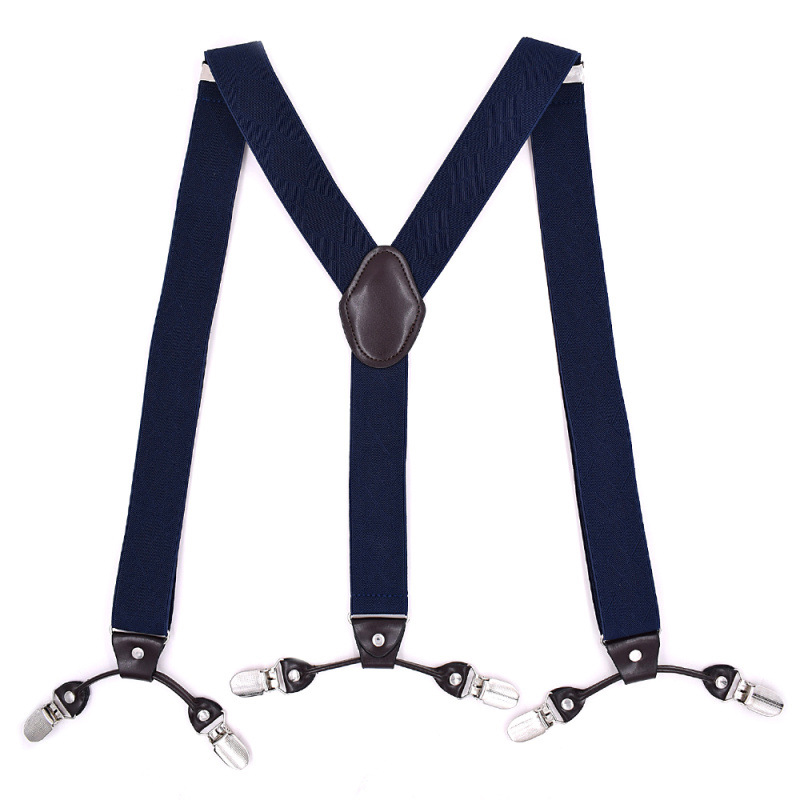 2019 New European And American Adult Men 6 Clip Jacquard Straps Plus Long  With Strap Clip Male High Quality Hanging Pant
