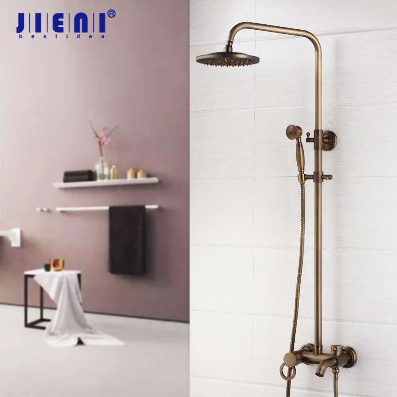 Antique Brass 8 Inch Shower Faucet Set Shower Head Hand Shower Sprayer Wall Mounted Mixer Tap