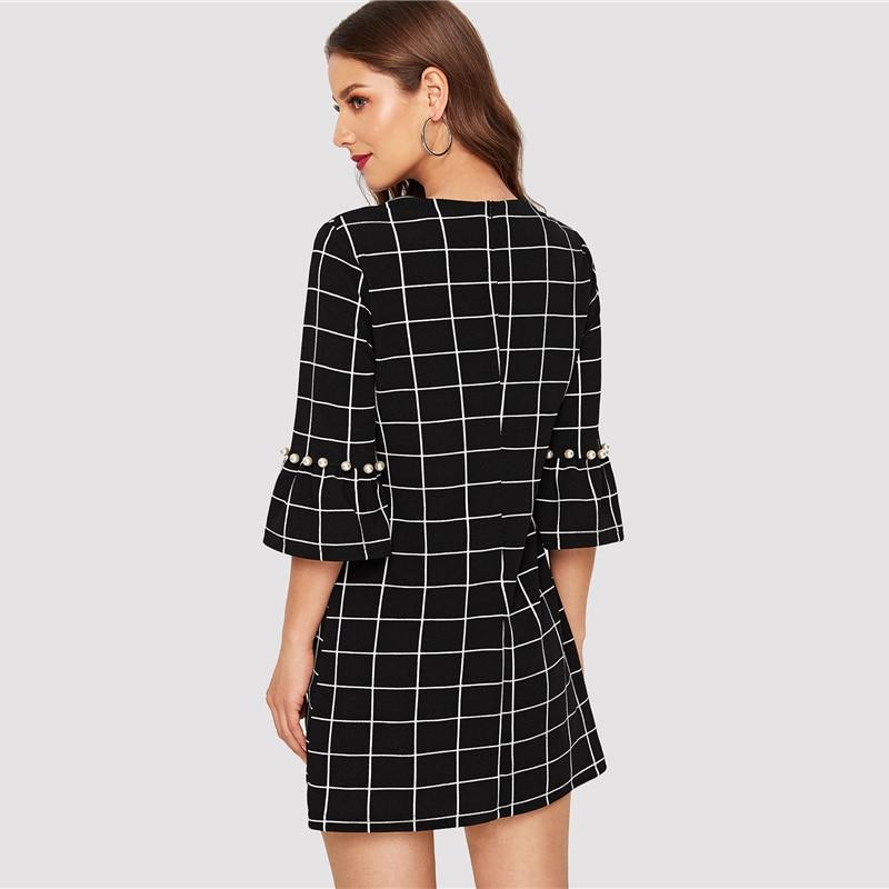 7feebaa32f62 SHEIN Black Pearl Beading Flounce Sleeve Grid Women Dress Elegant Plaid  Tunic Zipper 2019 Spring Sheath Workwear Short Dresses