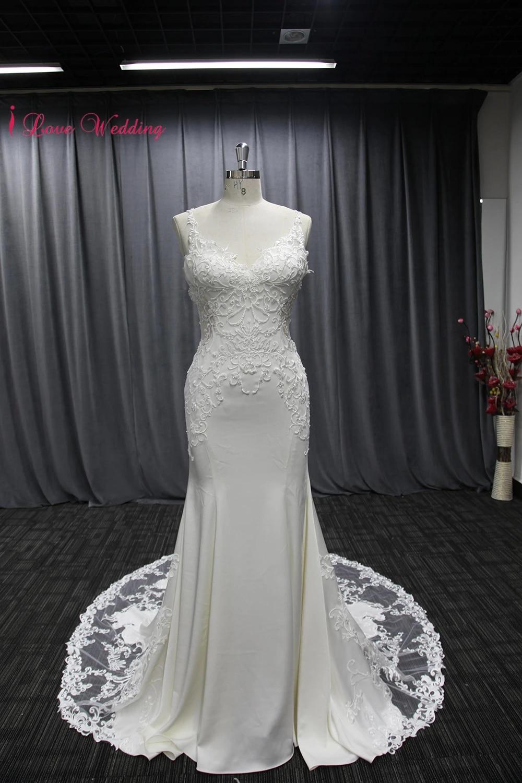 Chiffon Beach wedding dress Lace Appliqued Sexy Spaghetti Straps Backless  Mermaid Cut Woman Bridal Gown Out Door 18CM Train