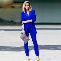 New Royal blue 2 piece set women business suits slim fit ladies office uniform elegant pant suits female trouser suits