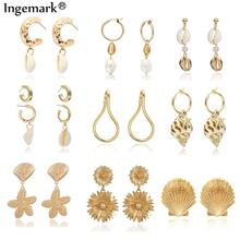Ingemark Korean Girl Natural Shell Drop Earring Metal Summer 2019 Tiny Cowrie Conch Sea Long Tassel Dangle Earrings Boho