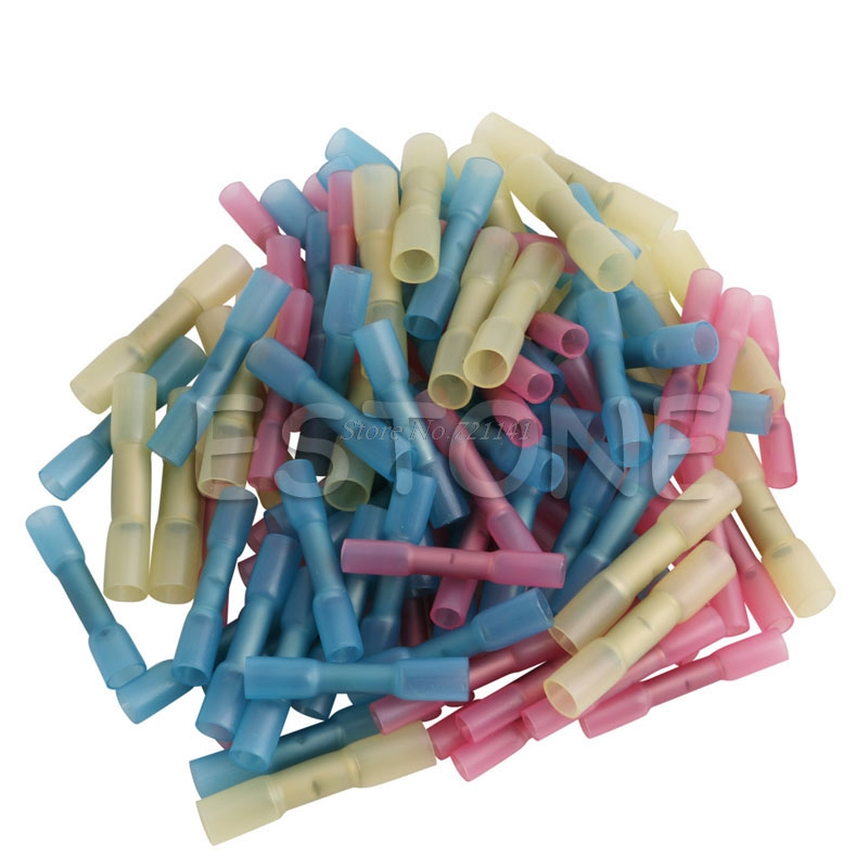 100Pcs Assorted Heat Shrink Butt Wire Electric Crimp Terminal Connector 22-10AWG