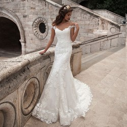 Vintage mermaid wedding dress full length scoop neck bridal gown sexy cap sleeve 2016 bridal wedding.jpg 250x250