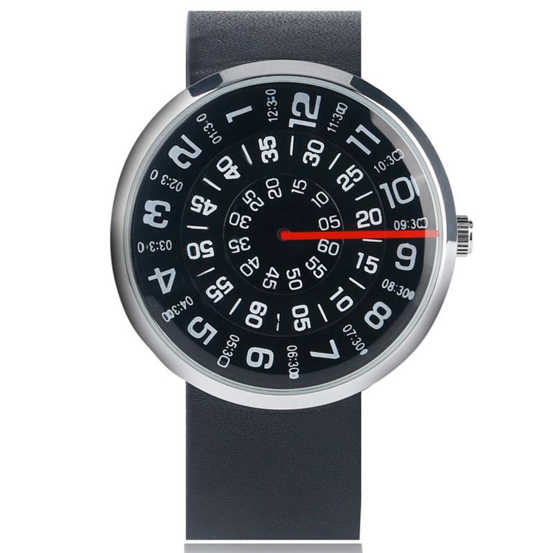 Horloge Heren Creatief Leren Band Band Armband Draaitafel Horloges - Herenhorloges - Foto 2