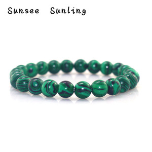 2019 New Natural Chrysocolla Malachite Stone Beads Bracelets for Women Round Beads Bracelet Jewelry with Pendant Vintage Jewelry(China)