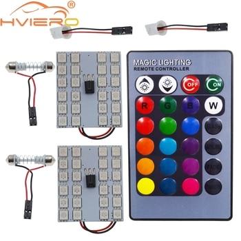 цена на T10 RGB 5050 24SMD Car Led Remote Control Rgb Car Led Panel Interior Auto Lights Reading Dome Festoon BA9S Adapter DC 12v Light