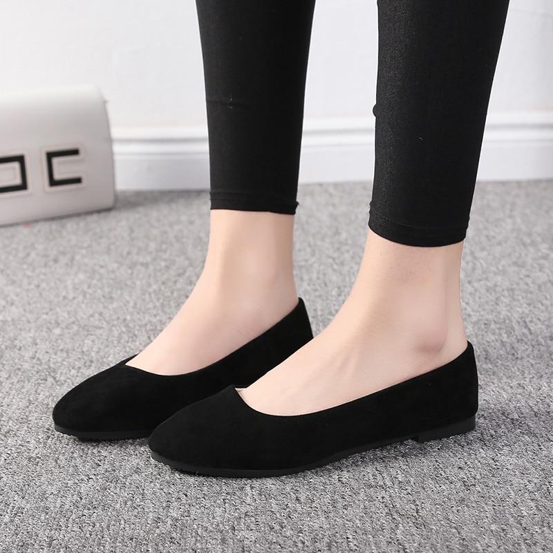 QSR דירות אביב סתיו אופנה מחודדת אחת נעלי נשי שטוח תחתון רדוד פה צבעים בוהקים נעלי נשים גודל גדול 43