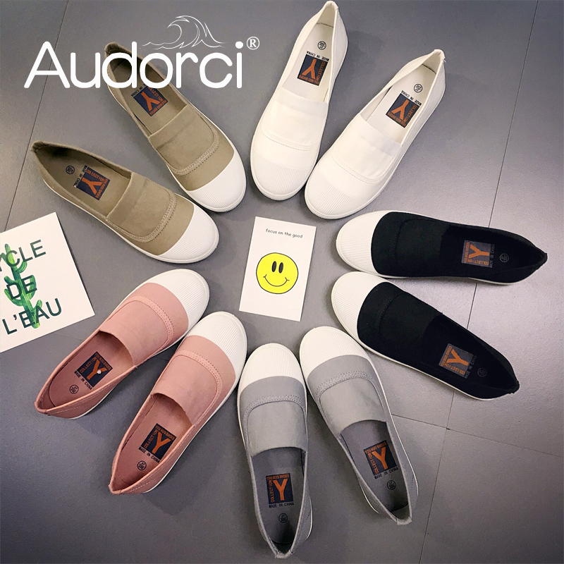 Audorci 2018 Summer Womens Light Slip-On Flats Shoes Woman Casual Loafers Shoe Scarpe da donna Handmade Female Shoe Size 35-40