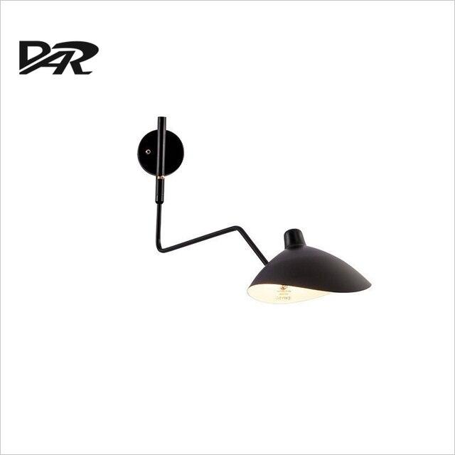 Art Design Mur Monté Bras Oscillant Mur Lampe Noir Blanc Fer