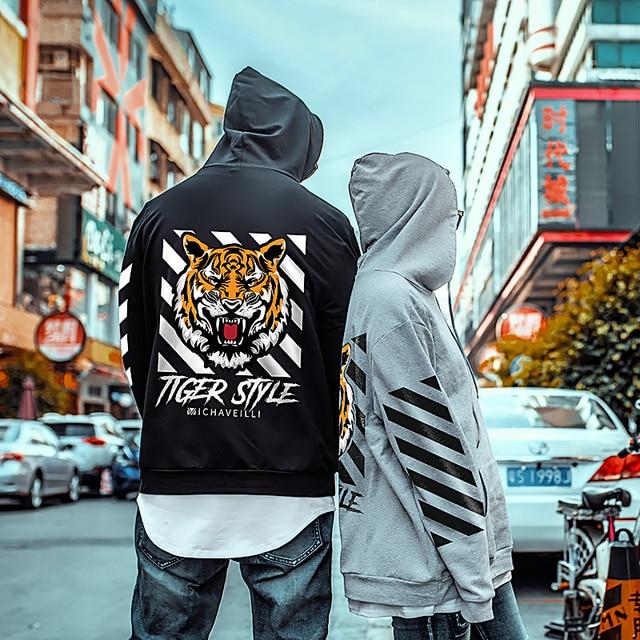 Большие размеры большой 4xl новый пуловер с капюшоном Тигр мужские топы с принтом Длинные Рукава свободного кроя кофты с капюшоном серый