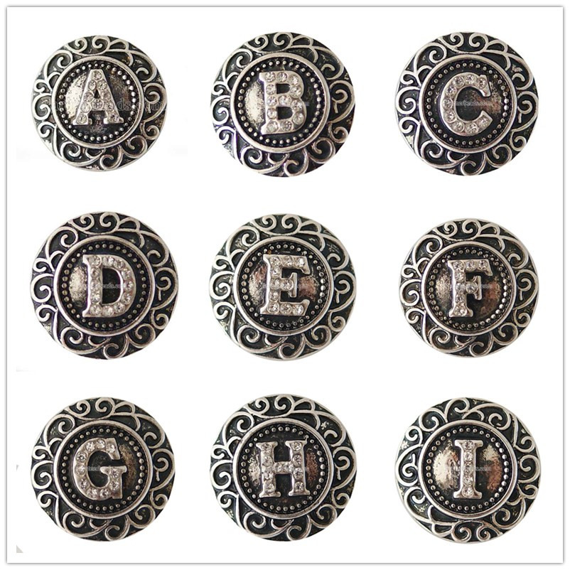 Partnerbeads Vintage English Alphabet A-S Snap Button Crystal Classic Style words Charm of Men Bracelet Bangle Jewelry KB6254