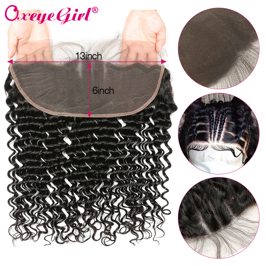 13x6 Lace Frontal Closure Brazilian Deep Wave Frontal Ear To Ear Lace Closure With Baby Hair