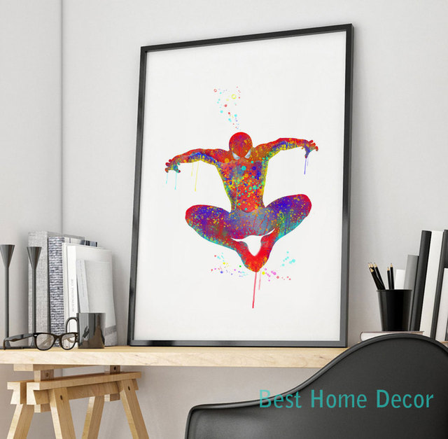 Spiderman Art Print Original Watercolor Spider Man Poster The Avengers Wall Art Wall Hanging Without Frame AP015