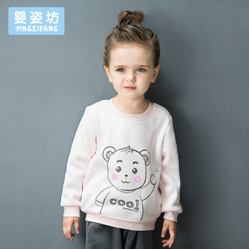Yingzifang Boys Girls Unisex Casual Cute Character Cotton Inverted Cashmere Warm Sweatshirts Fashion Hoodies Kids Tops Clothes