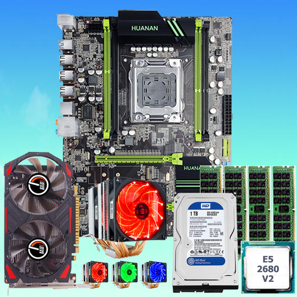 HUANANZHI X79 motherboard CPU Xeon E5 2680 V2 with 6 heatpipes cooler RAM 16G RECC 1TB 3.5' SATA HDD video card GTX750Ti 2G DDR5