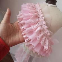 10cm Wide Three-layer Pink Chiffon Beautiful Lace Fabric DIY Dress Shoulder Strap Skirt Cuffs Decorative Sewing Accessories