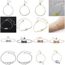 13 Kinds Bridal Chain Bracelet Rhinestone Family Heart Eye Pineapple Shaped Charm Bracelet wedding Jewelry Gifts For Women все цены