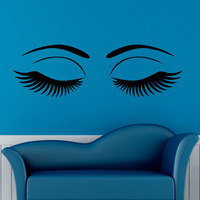 Home Decoration Wall Art Sticker Eyes Removable Vinyl Wall Decals Decor Sexy Girls Eyelashes Makeup Hottest