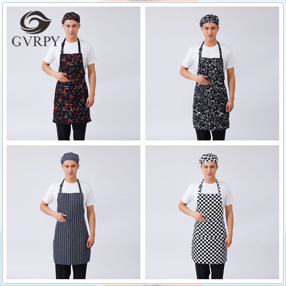 Hot Sale Chef Aprons Grid Striped Chili Forks Print Unisex Kitchen Hotel Coffee Shop Bakery Waiter Work Wear Apron Chef Uniforms
