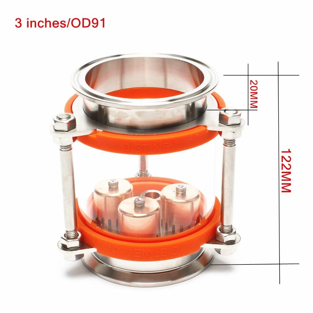 NOUVELLE Prime qualité 3 (OD91) dioptr Déphlegmateur Moonshine reflux En Acier Inoxydable Verre L'union triclamp Cuivre bulle plaque