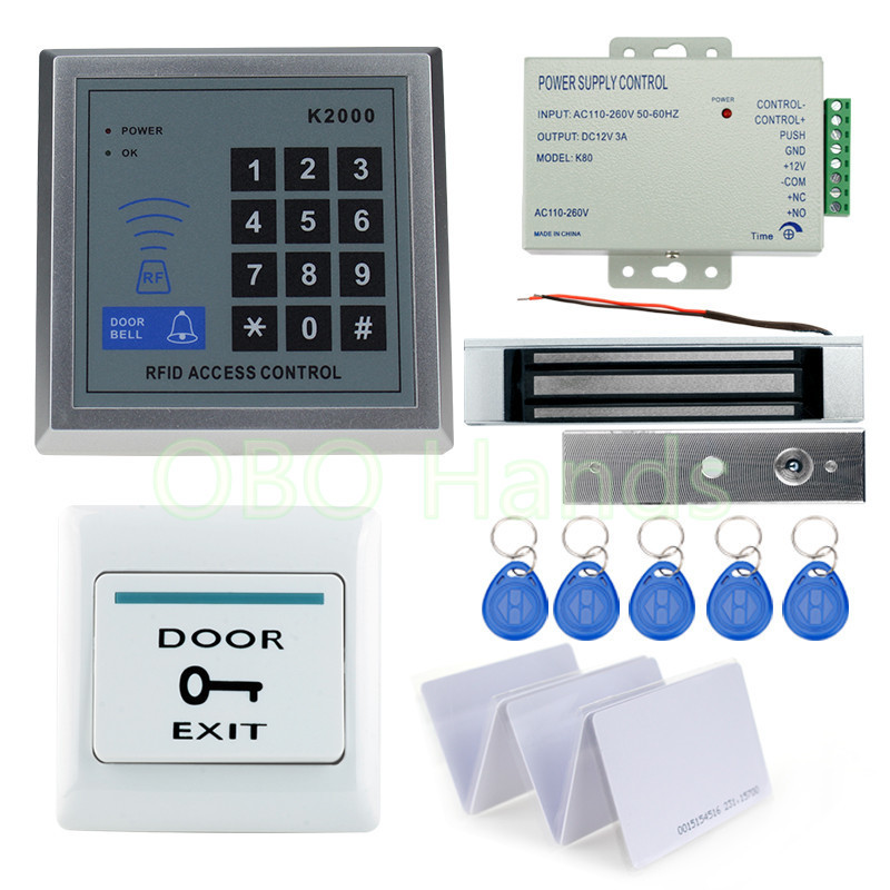 A Complete set of RFID Door Access Control System Kit Set With Lock RFID keypad+power+magnetic lock+door exit+keys free shipping diysecur magnetic lock door lock 125khz rfid password keypad access control system security kit for home office