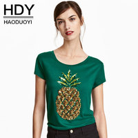 HDY Women T Shirts 2017 Summer Pineapple Sequined T Shirts Beading Tee Women Casual Short Sleeve