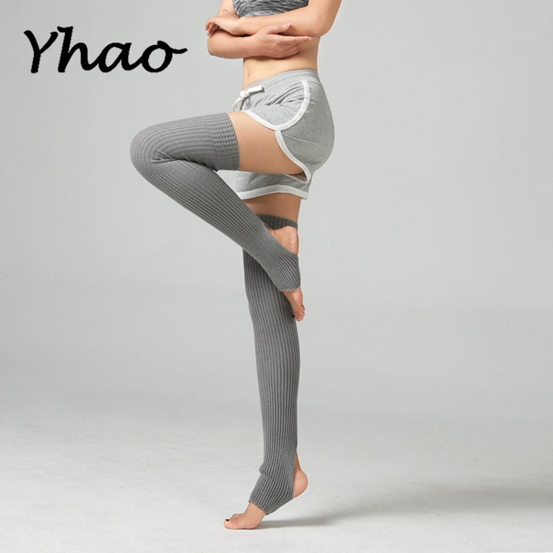 Yhao Women Yoga Long Knitted Leg Warmers Socks For Ballet Latin Dance Pilates Ladies Boot Socks Trainer Fitness Leg Stocking