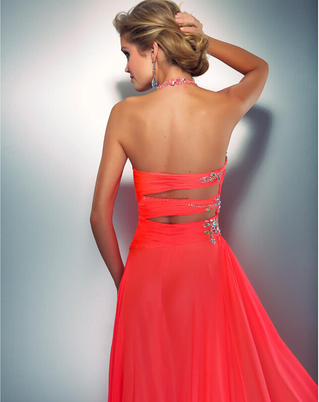 fef0672c4f16 Coral Colored Prom Dresses Embellished Halter Slit Chiffon Bright Hot Pink  Prom Dress Sexy Low Back Cut Out Neon Coral Gown-in Bridesmaid Dresses from  ...