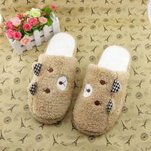 2018 New Fashion Women Shoes Lovely Bear Home Floor Soft Cotton-padded Slippers Winter Female Indoor Slippers sapato feminino(China)