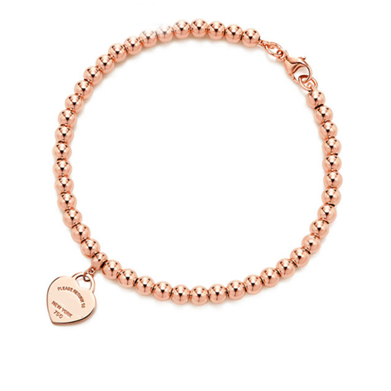 100% 925 Sterling Silver Genuine Original Charm Heart Bead Bracelet Original Female Jewelry Personality Gift logo pendants (2)