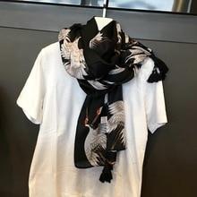 MARC 2019 NEW Chinese crane scarf Women spring and summer autumn Female Cotton Shawl tassel Black