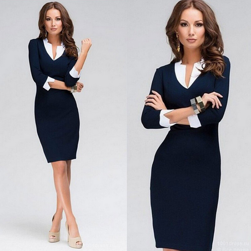 Elegant Women Office Lady Formal Wear Solid Color V Neck Long Dress Sleeve Business Work Party Pencil Dress Suit Confortable