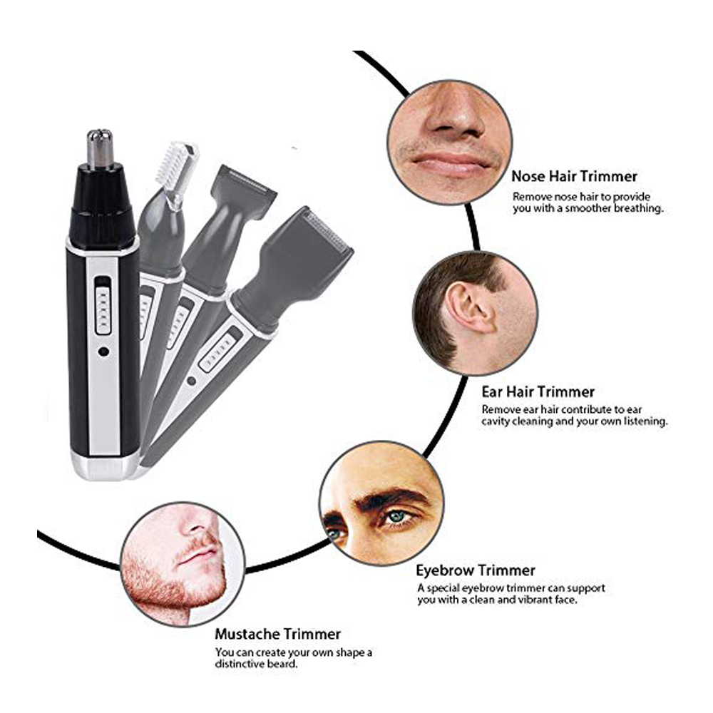 Rechargable Stainless Steel Blade Trimmer Waterproof with Wet Dry Ear Nose Hair Beard Eyebrow Personal Shaver Groomer 4 in 1 in Hair Trimmers from Home Appliances