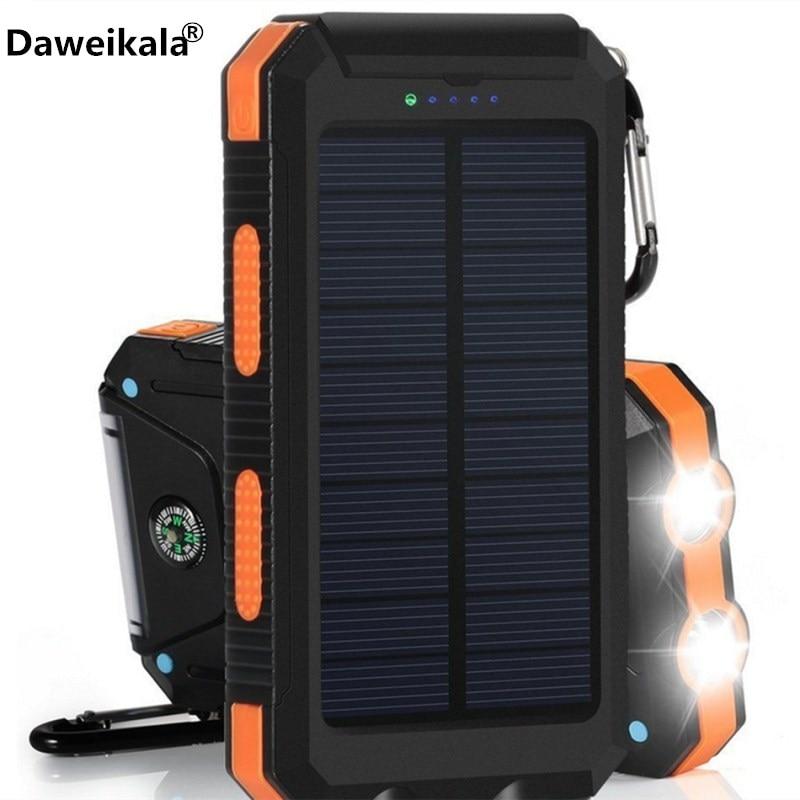 Solar Power Bank 20000 mAh Dual Power Bank 20000mAh External Battery Portable Charger Bateria Externa Pack Waterproof power bank