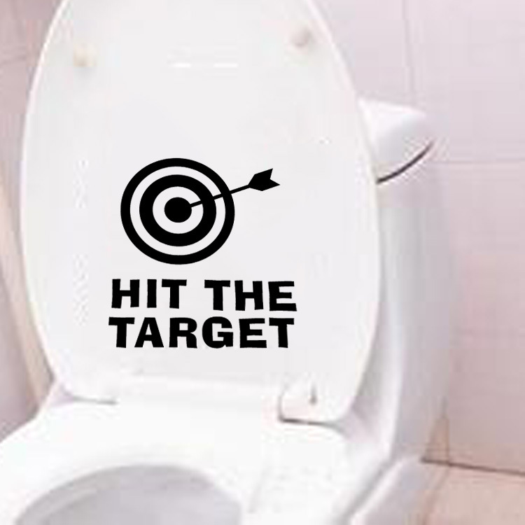 Waterproof Hit the Target Quotes PVC Wall Sticker Funny Toilet Stickers Bathroom Decoration Poster Home Decor Decals Mural