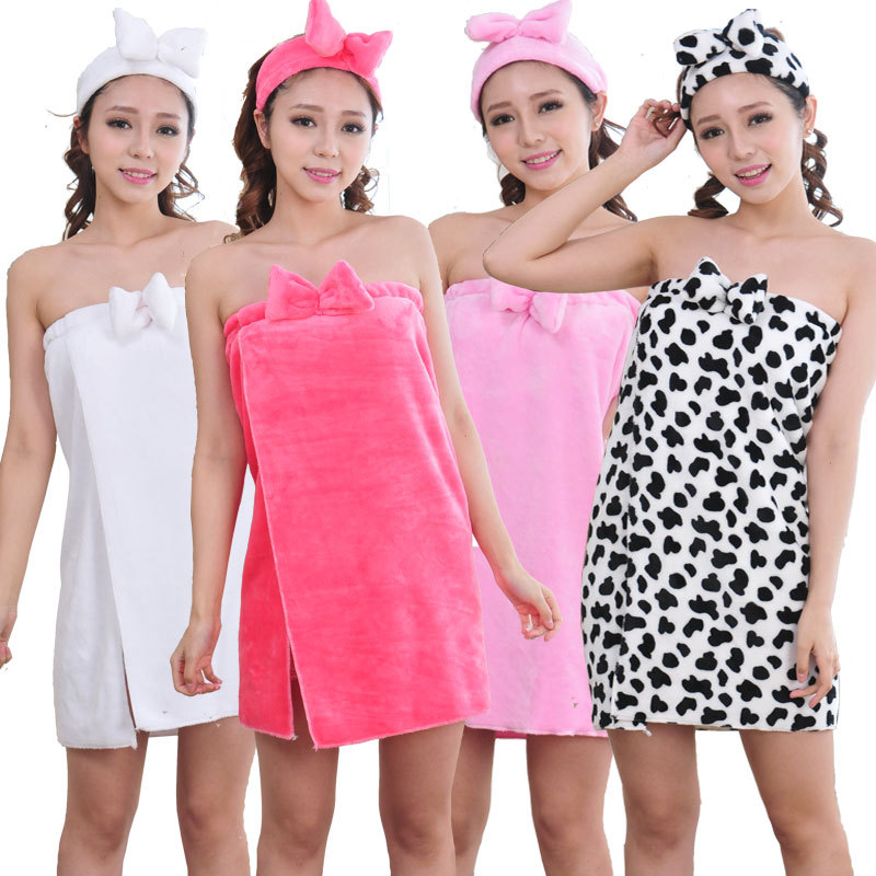 dbb36a5ec6 New 2016 Winter Women Flannel Robe Sleepwear Bowknot Bathrobes Robes Female  Thickening Bathrobes bath towel topknot for gift-in Robes from Women s  Clothing ...