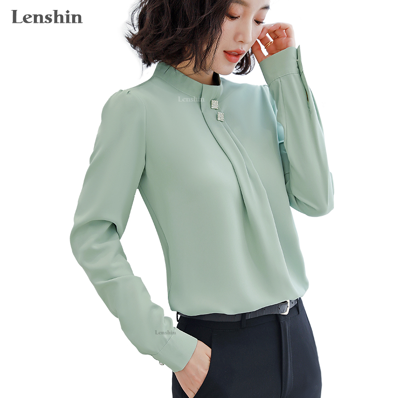 Lenshin Soft And Comfortable Shirt Long Sleeve High-quality Blouse With Diamond Office Lady Loose Style Green Top For Women