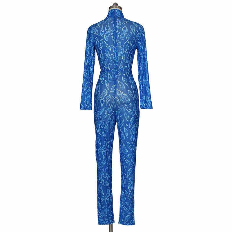 Сексуальный синий прозрачный сетчатый комбинезон женский осень зима длинный рукав водолазка принт обтягивающие Прозрачные Комбинезоны для вечеринок, клубов