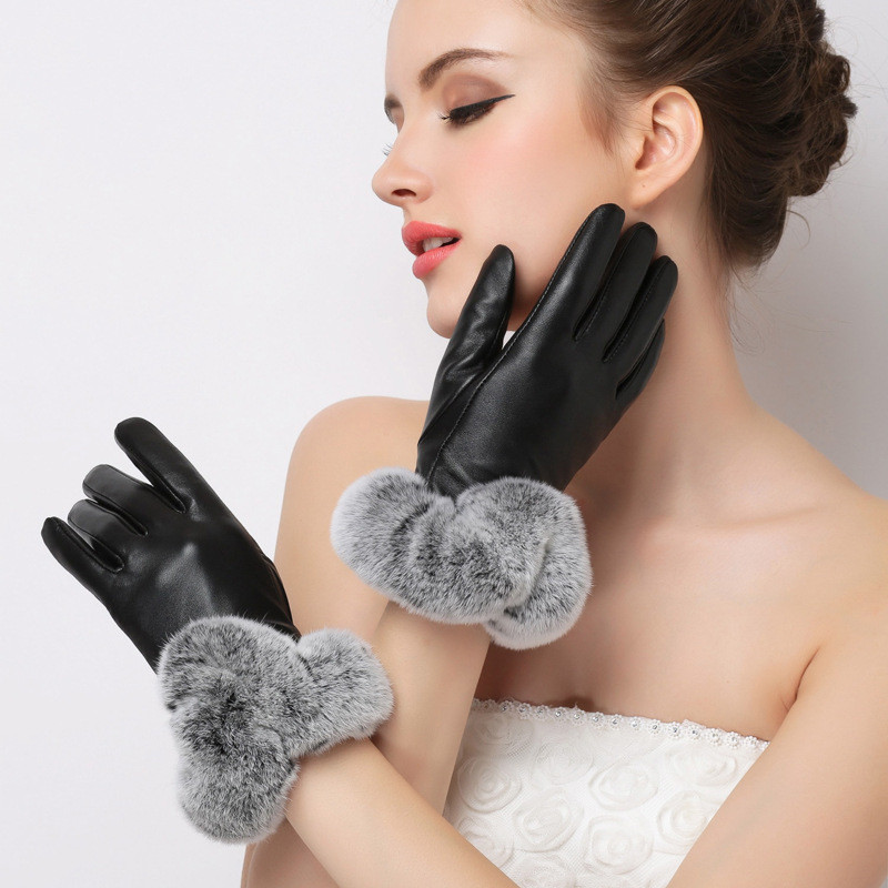Women-Winter-Warm-Gloves-Rex-Rabbit-Hair-Touchscreen-Drving-PU-Leather-Gloves-for-Touch-Screens-Female