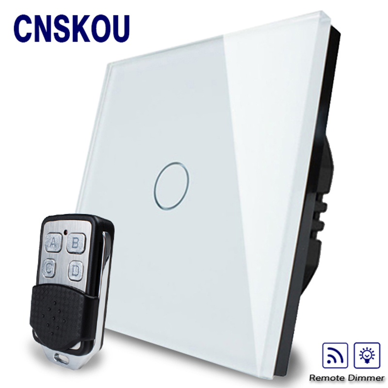 Cnskou EU Standard 1Gang Remote Control light Switch AC 220~250V,Dimmer Touch Wall Switch,Crystal Glass Panel,Manufacuturer 2017 free shipping smart wall switch crystal glass panel switch us 2 gang remote control touch switch wall light switch for led