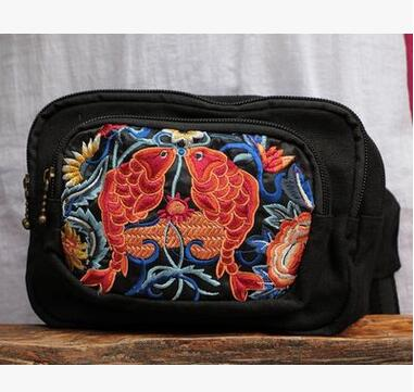 New Coming Womens waist Carrierr!Fashion Hot embroidery Ladys Messenger bag Top National Shopping bags casual traveller bag