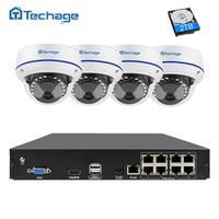 Techage 8CH CCTV System 1080P POE NVR Kit 4PCS Indoor Dome Vandalproof IP Camera P2P Onvif