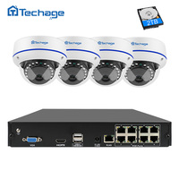Techage 8CH CCTV System 1080P POE NVR Kit 4PCS Indoor Dome Vandalproof IP Camera P2P Onvif