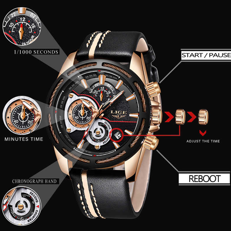 4f763de8880 ... LIGE New Mens Watches Top Brand Luxury Quartz Watch Men Calendar  Leather Military Waterproof Sport Wrist ...